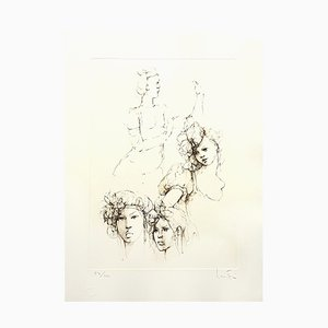 Litografia Portraits di Leonor Fini, 1986