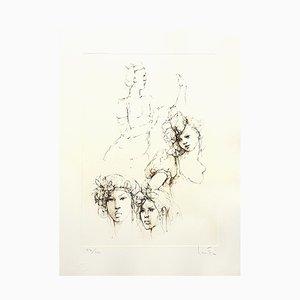 Portraits Lithografie von Leonor Fini, 1986