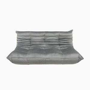 Vintage Gray Velvet Togo Sofa by Michel Ducaroy for Ligne Roset