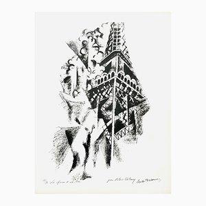 Litografia The Woman and the Tower di Robert Delaunay, anni '60