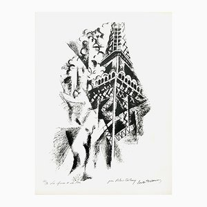 The Woman and the Tower Lithograph by Robert Delaunay, 1960s
