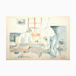 Litografía Family at Supper de Pablo Picasso, 1946
