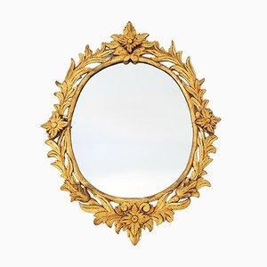 Ovaler Spiegel mit Holzrahmen & Blattgold, 1920er