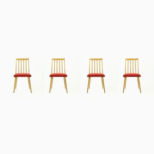 Mid-Century Blond Beech and Red Fabric Dining Chairs from Stolár, 1960s, Set of 4