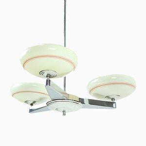 Lámpara de techo Bauhaus de metal cromado, años 20