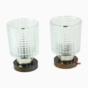 Lámparas de mesa de vidrio y madera de Pokrok, años 60. Juego de 2