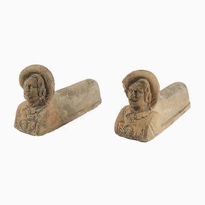 Chenets Anciens en Terracotta, années 1900, Set de 2