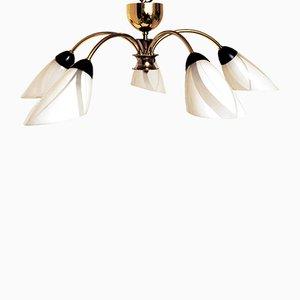 Mid-Century Deckenlampe aus Messing & Opalglas