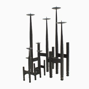 Brutalist Wrought Iron Candleholders, 1960s, Set of 2