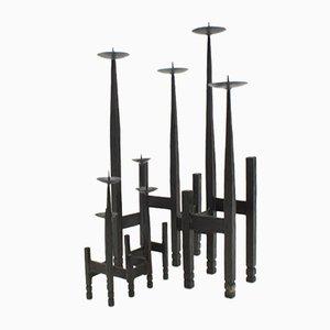 Brutalistische Kerzenhalter aus Schmiedeeisen, 1960er, 2er Set