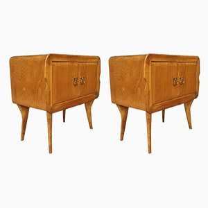 Italian Exotic Wood Nightstands, 1960s, Set of 2