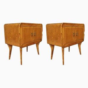 Italian Exotic Wood Nightstands, 1960s, Set of 2