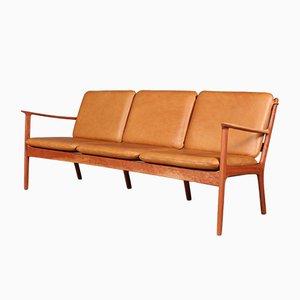 Sofá de tres plazas modelo PJ112 de cuero anilino de Ole Wanscher para Poul Jeppesens Møbelfabrik, años 60