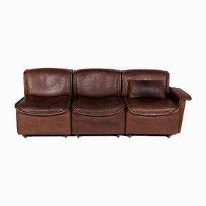 Vintage Brown Leather Model DS12 Sofas from de Sede, Set of 2