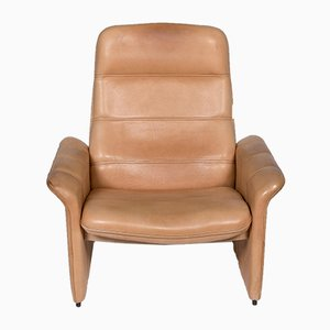 Vintage Beige Leather Armchair and Stool Set from de Sede