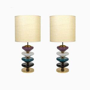 Lámpara de mesa de cristal de Murano, años 80