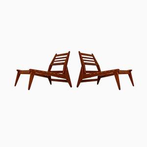 Lounge Chairs & Ottoman Set, 1950s, Set of 2