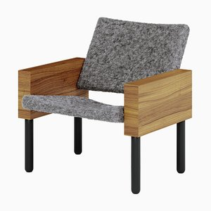 Natural Walnut Block Armchair by Jonas Lutz