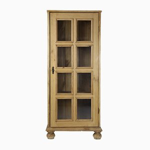 Vintage Danish Pine & Glass Cabinet