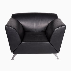 Vintage Black Leather Model JR-8100 Armchair from Jori