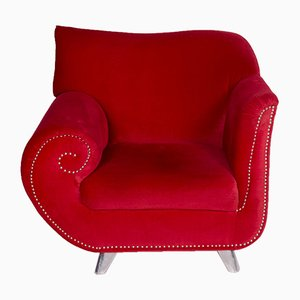 Vintage Red Velvet Model Gaudi Armchair from Bretz