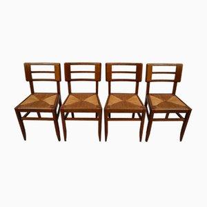 Esszimmerstühle aus Eiche & Rohrgeflecht von Pierre Cruège, 1930er, 4er Set