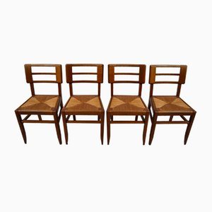 Oak & Cane Dining Chairs from Pierre Cruège, 1940s, Set of 4