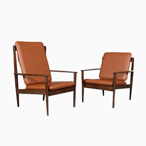 Mahogany Lounge Chairs by Grete Jalk for Poul Jeppesens Møbelfabrik, 1960s, Set of 2
