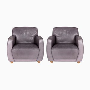 Vintage Gray Leather Model Dio Armchair from Cor, Set of 2