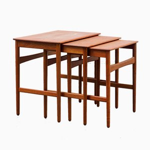AT 40 Side Tables by Hans Wegner for Andreas Tuck, 1960s, Set of 3