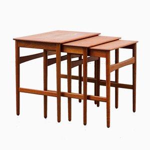 Tavolini AT 40 di Hans Wegner per Andreas Tuck, anni '60, set di 3