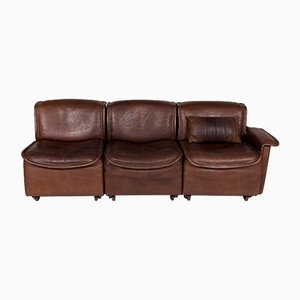 Vintage Brown Leather Model DS 12 3-Seater Sofa from de Sede