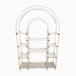 Vintage Glass, Brass & Lucite Shelf