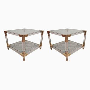 Lucite & Brass Side Tables, 1970s, Set of 2