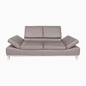 Vintage Gray Leather 2-Seater Sofa from Willi Schillig