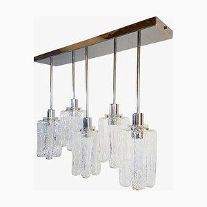 Lámpara de techo de cristal de Murano y metal cromado de J. T. Kalmar para Kalmar, años 70