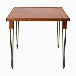 Mesa de juegos de cuero de Jacques Adnet, años 50