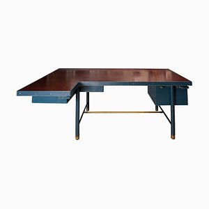 Leather Desk by Jacques Adnet, 1950s
