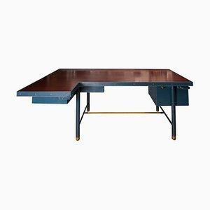 Schreibtisch aus Leder von Jacques Adnet, 1950er