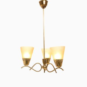 Brass & Opal Glass Ceiling Lamp, 1950s