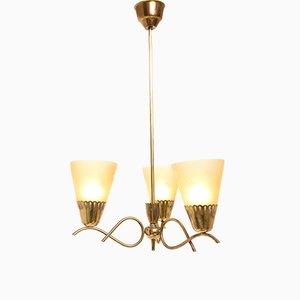 Deckenlampe aus Messing & Opalglas, 1950er