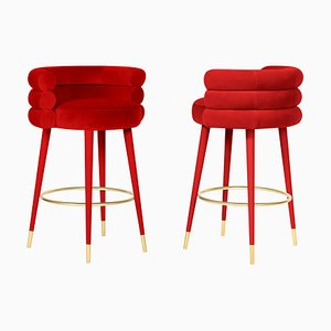 Red Marshmallow Bar Stool by Royal Stranger, Set of 2