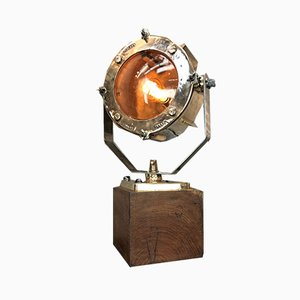 Mid-Century Cast Bronze & Teak Table Lamp from Crouse Hinds