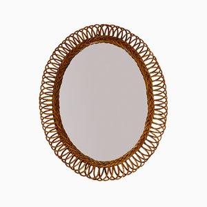 Large Italian Rattan Wall Mirror, 1960s
