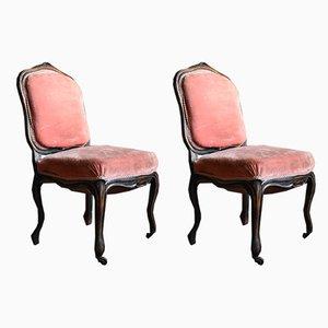 Antike französische Beistellstühle mit Samtbezug, 2er Set