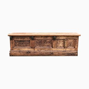 Large Antique Victorian Pinewood Shop Counter, 1890s