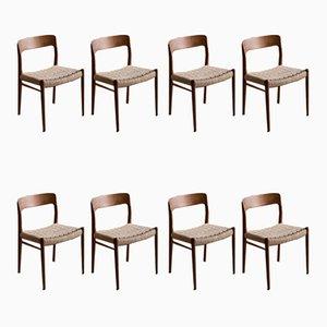 Chaises de Salle à Manger 75 par Niels O. Møller pour JL Møllers Møbelfabrik, 1960s, Set de 8