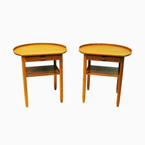 Swedish Round Side Tables by Sven Engström & Gunnar Myrstrand for Bodafors, 1964, Set of 2