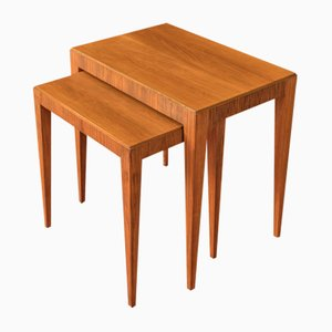German Walnut Veneer Nesting Tables, 1960s