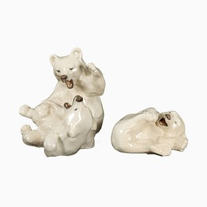 Danish Porcelain Polar Bear Cubs Figurines by Knud Kyhn for Royal Copenhagen, 1963, Set of 2